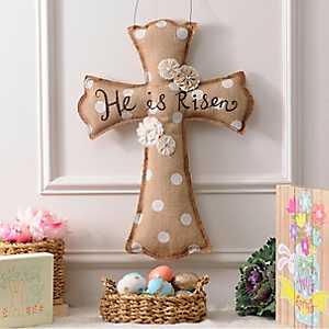He Is Risen Burlap Cross