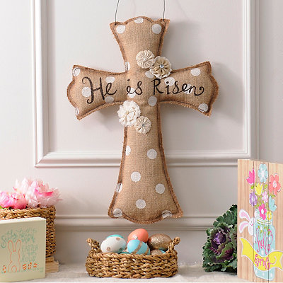 He Is Risen Burlap Cross