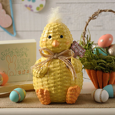 Wicker Chick with Easter Sign Statue