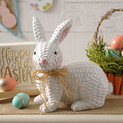 Faux Wicker Bunny Statue