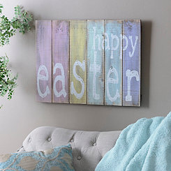 Pastel Happy Easter Wood Wall Plaque