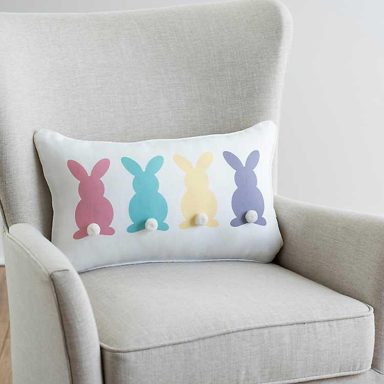 Multi Color Bunny Pom Pom Pillow Kirklands