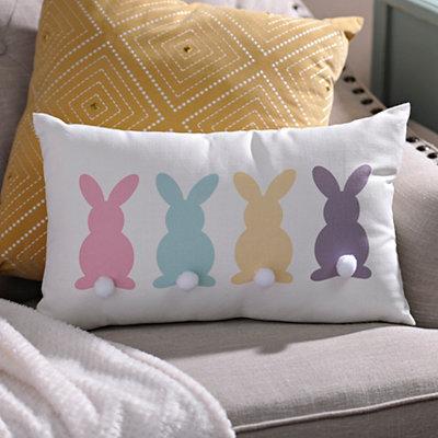 Multi Color Bunny Pom Pom Pillow
