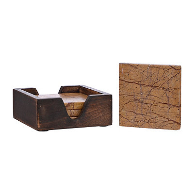 Brown Marble Coasters, Set of 5