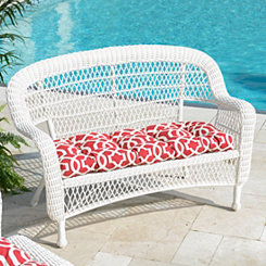 White Wicker Settee