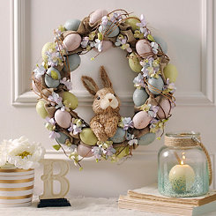 Hydrangea and Eggs Easter Bunny Wreath