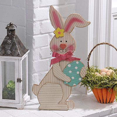 Wooden Easter Bunny and Egg Statue