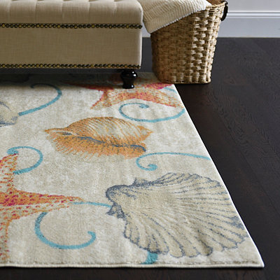 Harper Coastal Starfish and Shells Area Rug, 8x11