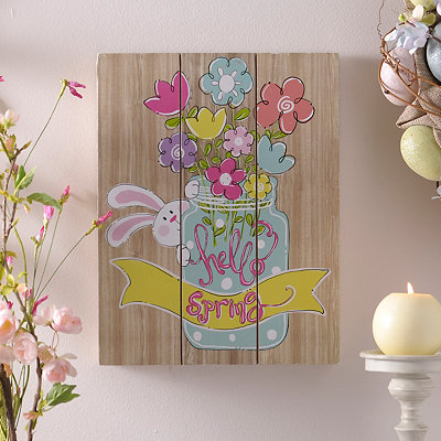 Hello Spring Wood Plank Plaque