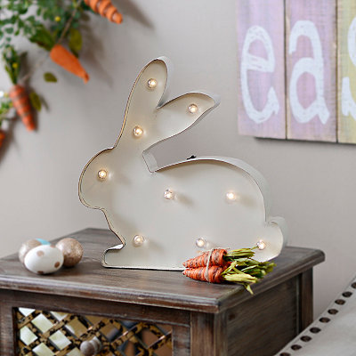 White Marquee Light Bunny Metal Plaque