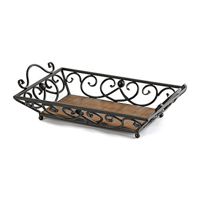 Wood and Metal Scroll Decorative Tray