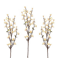 Metallic Pearl Apple Blossom Stems, Set of 3