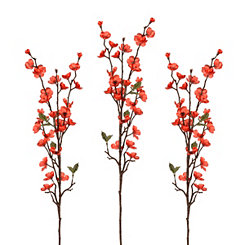 Metallic Red Apple Blossom Stems, Set of 3