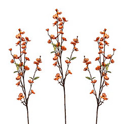 Metallic Copper Apple Blossom Stems, Set of 3