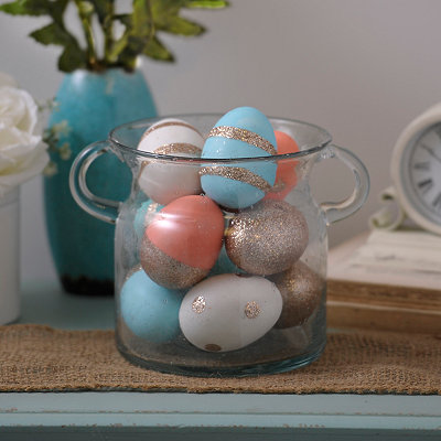 Turquoise and Coral Glitter Eggs, Set of 10