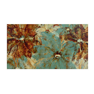 Teal Tahitian Blossoms Canvas Art Print