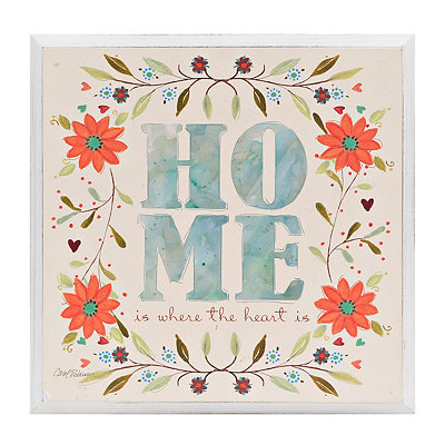 Home Floral Wooden Plaque