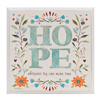 Hope Floral Wooden Plaque
