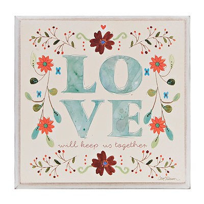 Love Floral Wooden Plaque