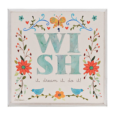 Wish Floral Wooden Plaque