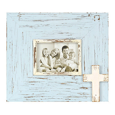 Distressed Turquoise Cross Picture Frame, 5x7