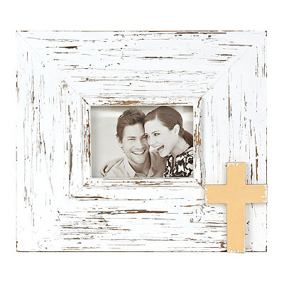 Distressed Cream Cross Picture Frame, 5x7