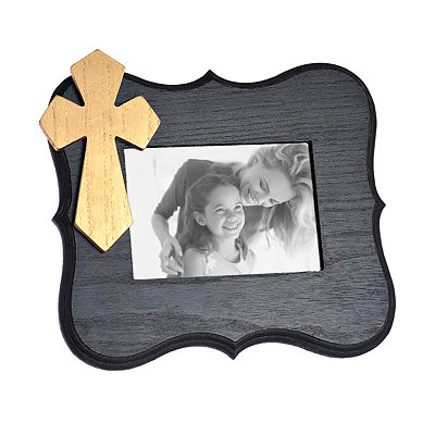 Black Scalloped Cross Picture Frame, 5x7