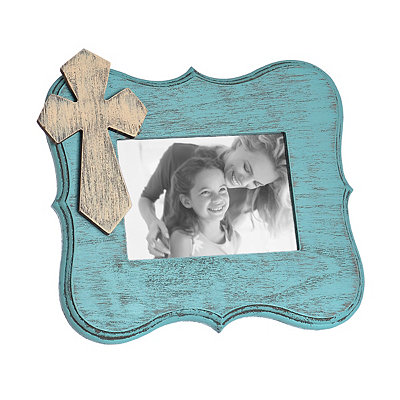 Turquoise Scalloped Cross Picture Frame, 5x7