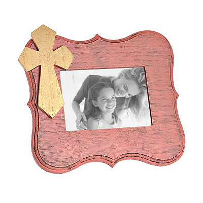 Coral Scalloped Cross Picture Frame, 5x7