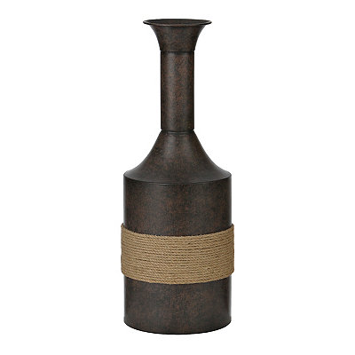 Rope-Wrapped Bronze Metal Vase