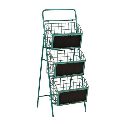 Turquoise Metal 3-Tier Chalkboard Crate