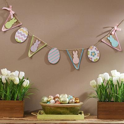 Glittered Easter Bunny Pennant Banner