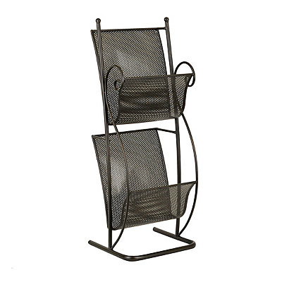 Black 2-Tier Metal Scroll Magazine Holder