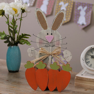 Wooden Bunny with Carrots Statue