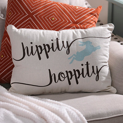 Turquoise and Chocolate Hippity Hoppity Pillow