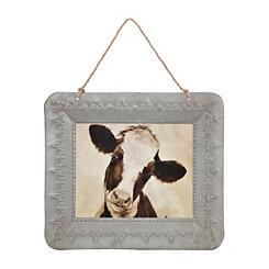 Curious Cow Galvanized Framed Art Print