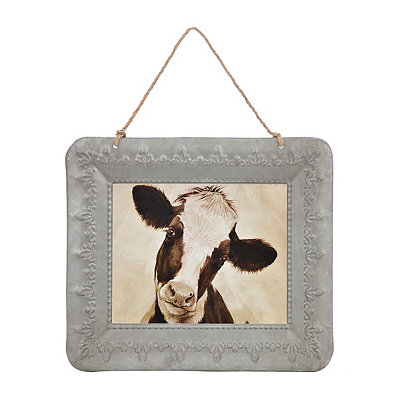 Curious Cow Galvanized Framed Art Print