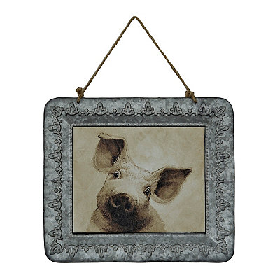 Curious Pig Galvanized Framed Art Print