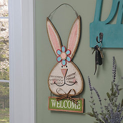 Burlap Welcome Bunny Girl Wooden Plaque