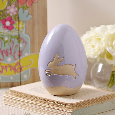 Purple Bunny Easter Egg Statue