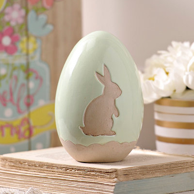 Green Bunny Easter Egg Statue