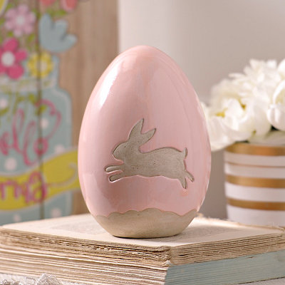 Pink Bunny Easter Egg Statue