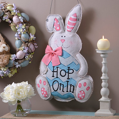 Hop On In Burlap Bunny Wall Hanger