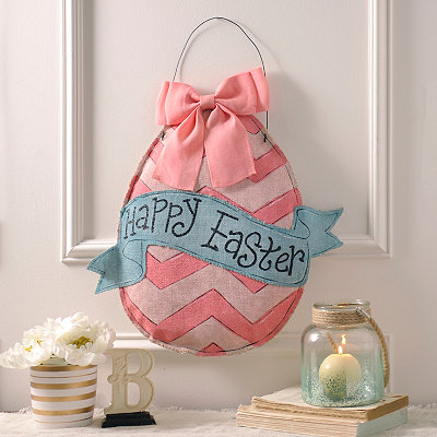 Happy Easter Burlap Egg Wall Hanger