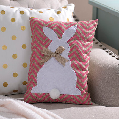 Pink Chevron Easter Bunny Burlap Pillow