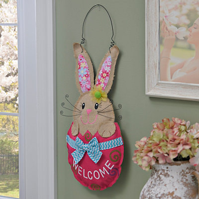 Burlap Bunny Girl Welcome Wall Hanger