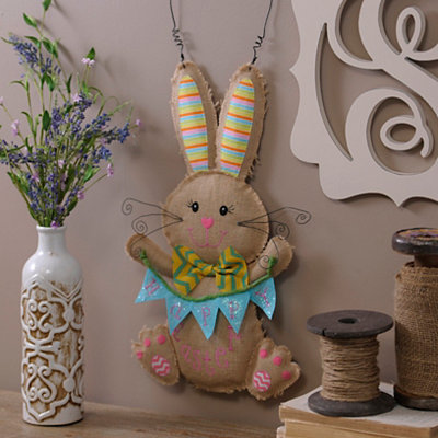 Burlap Bunny Boy Happy Easter Wall Hanger