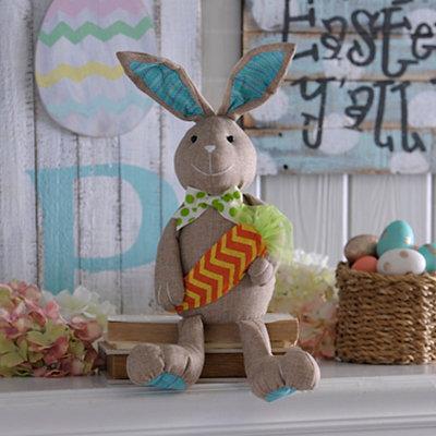 Burlap Plush Bunny Boy Sitter