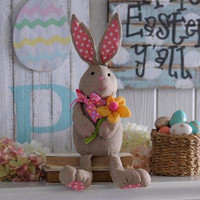 Burlap Plush Bunny Girl Sitter
