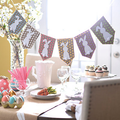 Polka Dot Easter Bunny Pennant Banner